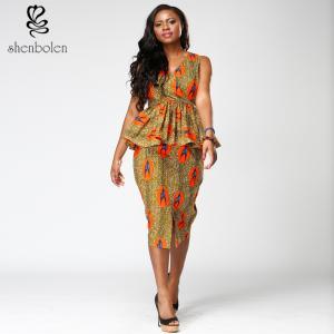 Modern Short Sleeve African Style Print Dresses Medium Length V Neck Blue Color Manufactures