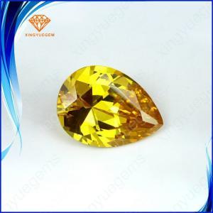 China Wuzhou wholesale cubic zirconia, excellent pear cut cubic zirconia stones,yellow diamond color cz stone on sale