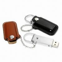China USB Flash Drives with Stainless Steel Strap to Connect Leather Housing, Free Laser Logo Imprint on sale