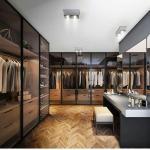 Glass Wardrobe Step-in Cloakroom Brown Glass Metal Frame Glass Door Board Wardrobe Manufactures