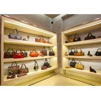 Quality Modern Simple Looks Handbag Shop Display Shelving With LED Strip Lights Decoration for sale