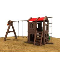 Small Brown Plastic Outdoor Swing Set , Outdoor Plastic Swing Sets Manufactures