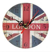 Retro Vintage Large Clock British United Kingdom Flag Wall Clock Home Decorative Rustic Wooden Wall Clock Manufactures