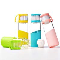 Pure Double Caps BPA Free Glass Water Bottles With Lid / Silicone Sleeve Manufactures