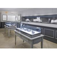 Oblong Shape Matte Gray Glass Jewellery Display Cabinets Simple Modern Style Manufactures