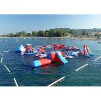 Red and Blue Inflatable Aqua Park , 0.9mm PVC Tarpaulin Inflatable Sports Park Manufactures