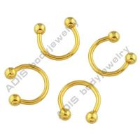 24k Gold Men Stainless Steel Circular Barbell Ring Jewellery Anti - Allergy Manufactures