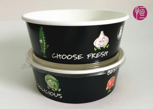 Custom Logo Flexo Print Paper Salad Bowls Disposable 44oz With Lid