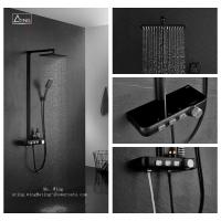 China black colour metal case PPA water way thermostatic shower system on sale
