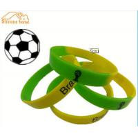 China Green And Yellow Custom Silicone Bracelets / Wristbands For World Cup on sale