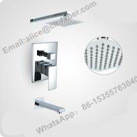 chrome finish concealed wall mounted square rain shower faucet set hand shower