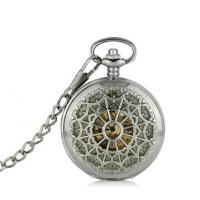 China Round Alloy Silver Pocket Watches Vintage Fashion Hollow Watches For Men on sale