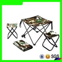 Hot sell portable chair and table camoflag camping set with cup holder Manufactures