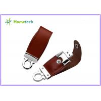 Brown / Black Customized Leather Usb Flash Drives 1GB , 2GB , 8GB Manufactures