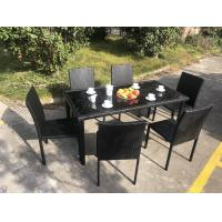 Stackable Chair Outdoor Rattan Dining Set KD Tabke With Black Glass Manufactures