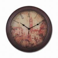 12-inch Wooden Wall Clock with Antique Finishing, Operated by 1pc AA Battery Manufactures