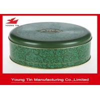 China Matt Finished Round Cookie Gift Tins With Lids , Food Grade CMYK Printed Cylinder Biscuit Tin on sale
