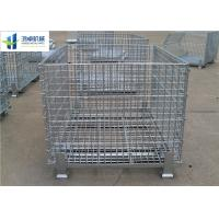 Euro Warehouse Wire Mesh Container Wire Folding Bulk Containers With Wooden Pallet Manufactures