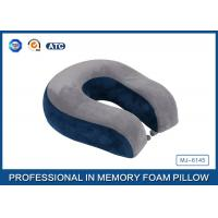 Comfort Automotive / Plane Poly Jersey Inner Memory Foam Travel Neck Pillow With Button Manufactures