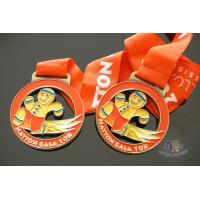 Shiny Gold Plating Metal Award Medals Soft Enamel On Both Side Of Front And Back Manufactures