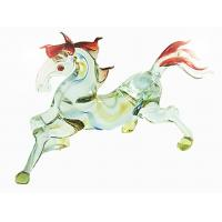 Quality 10CM Horse Figurine , Handmade Lampwork Glass Animals For Engagement Gift for sale