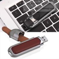 Leather metal USB memory stick customized logo hot stamp press usb pendrive gift Manufactures