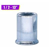 Zinc Plated Carbon Steel Blue White Knurled Body Rivet Nut Flat Head Threaded