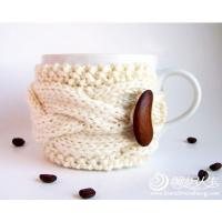 coffee mug Crochet Cup Cozy with bean bottons , Knitted Wraparound Cable Design for sale
