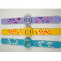 China Big Face Slap Bracelet Silicone Wristband Watches with Silk Printed Logo For Kids on sale