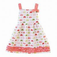 China Girl's printed dress with shoulder-strap, 100% cotton voile lining on sale