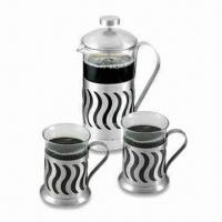 China 3-piece Stainless Steel Tea and Coffee Maker Set with 1 x 350 and 2 x 200mL Capacity on sale