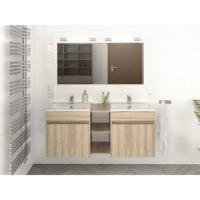 Wood Colour Double Sink Bathroom Vanity 120 Inch With Finger Pull Drawers Manufactures