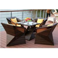 China YLX-RN-066 Gradient Color Black with Coffee Diamond PE Rattan Chair and Table on sale