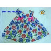 Satin Bow Baby Girl Cotton Dresses Crew Neck Ruffle Sleeve A Shape Dress Manufactures