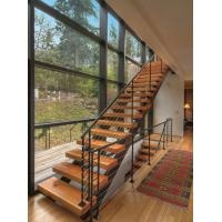 Durable Solid Wood Straight Flight Staircase 1000-150mm Width With Steel Railing Manufactures