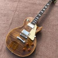 New standard LP 1959 R9 electric guitar, Flame Maple Top, frets cream binding, a piece of neck & body, Tune-o-Matic brid Manufactures