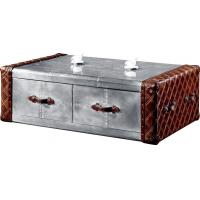 Vintage Retro Side Coffee Table Genuine Leather Aluminium Sheet Drawer Plywood Frame Manufactures