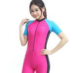 girl pink swim suit swimsuits lycra swimwear rashguard short one piece type online wholesale Manufactures