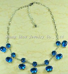 China Jewellry Blue Gemstone Necklace N0014 on sale