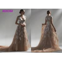 Ball Multi Colored Wedding Gowns Brown Lace Appliques Bridal Gowns Long Robe Manufactures