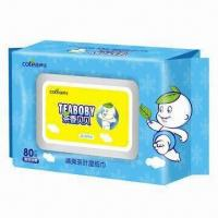 China Tea Baby Wipes, Made of Nonwoven Spun Lace, with Alcohol-free and Tea Fragrant on sale