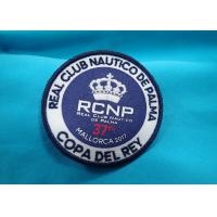Heat Press Badge Custom Embroidered Patches , Iron On Patch Applique For Clothing Manufactures