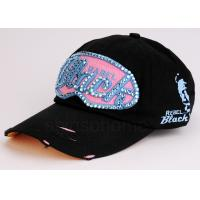 Cool Hip-Hop Black Cotton Baseball Caps Curved Bill For Women / Ladies Manufactures
