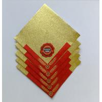 Golden Aluminum Custom Foil Stickers Embossing Lacquer Coated Surface Manufactures