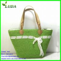 Green Paper String Handbags with white Sash w/Beads Handles Manufactures
