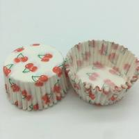 Cherry Pattern Greaseless Cupcake Liners , Muffin Cake Paper Cups For Children Party Manufactures