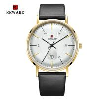 China SGS Mens Leather Strap Watches 2.5D Mineral Glass Three Hand 3 Atm Water Resistant on sale