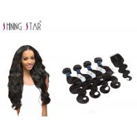 4 Bundles Unprocessed Remy Hair Extensions Weave With Closure No Bad Smell Manufactures