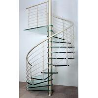 Interior spiral staircase with wooden steps glass railing design Manufactures