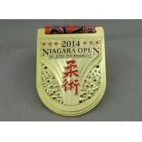 Jiu Jitsu Tournament Ribbon Medals Die Casting With Gold Plating Manufactures